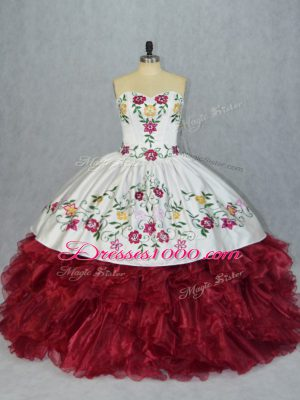 White And Red Organza Lace Up Sweetheart Sleeveless Floor Length 15th Birthday Dress Embroidery and Ruffles