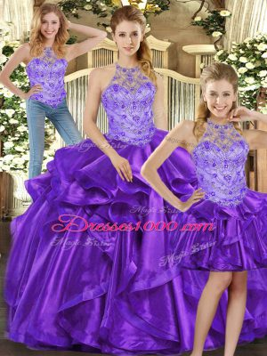 Fantastic Purple Organza Lace Up Quinceanera Gown Sleeveless Floor Length Beading and Ruffles