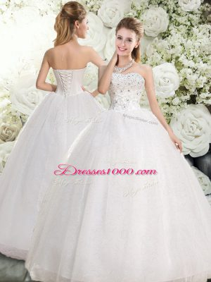 Sumptuous White Sweetheart Lace Up Beading Wedding Dress Sleeveless