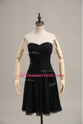 Glamorous Sleeveless Chiffon Mini Length Lace Up Prom Gown in Black with Ruching