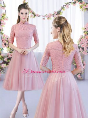 Extravagant High-neck Half Sleeves Zipper Dama Dress Pink Tulle