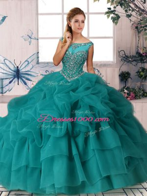 Scoop Sleeveless Organza Sweet 16 Dresses Beading and Pick Ups Brush Train Zipper