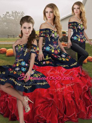 Three Pieces 15 Quinceanera Dress Red And Black Off The Shoulder Organza Sleeveless Floor Length Lace Up