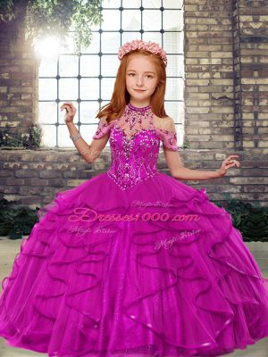High Class High-neck Sleeveless Lace Up Little Girls Pageant Dress Fuchsia Tulle