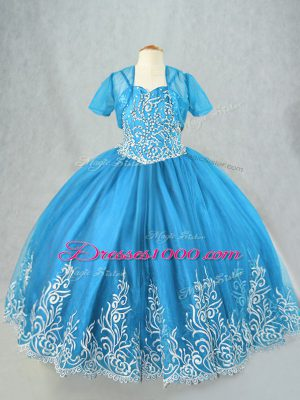 Ball Gowns Little Girl Pageant Gowns Baby Blue Spaghetti Straps Tulle Sleeveless Floor Length Lace Up
