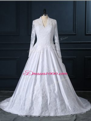 New Arrival White Wedding Gowns V-neck Long Sleeves Brush Train Clasp Handle