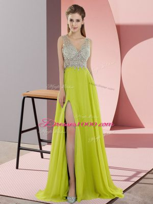 Yellow Green Prom Party Dress Chiffon Sweep Train Sleeveless Beading