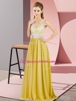 Exceptional V-neck Sleeveless Prom Evening Gown Floor Length Beading and Lace Gold Chiffon