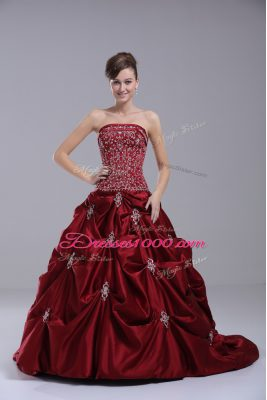 Wine Red Sleeveless Beading and Embroidery Lace Up Bridal Gown