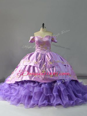 Romantic Lavender Ball Gowns Organza Off The Shoulder Sleeveless Embroidery and Ruffles Lace Up Quinceanera Dress Chapel Train