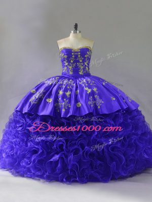 Delicate Sleeveless Brush Train Embroidery and Ruffles Lace Up 15 Quinceanera Dress