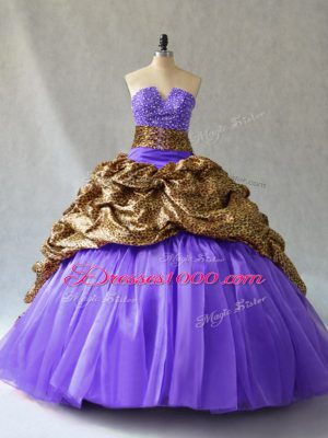 Custom Designed Lavender Sleeveless Organza and Printed Brush Train Lace Up Quince Ball Gowns for Sweet 16 and Quinceanera