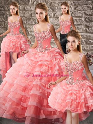 Fashion Watermelon Red Sleeveless Beading and Ruffled Layers Lace Up Sweet 16 Quinceanera Dress