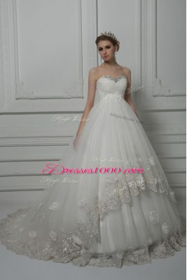 Glittering White Sleeveless Court Train Beading and Lace and Hand Made Flower Bridal Gown