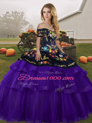 Great Brush Train Ball Gowns Sweet 16 Quinceanera Dress Black And Purple Off The Shoulder Tulle Sleeveless Lace Up