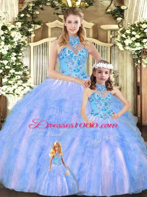 Charming Halter Top Sleeveless Quince Ball Gowns Floor Length Embroidery and Ruffles Multi-color Tulle