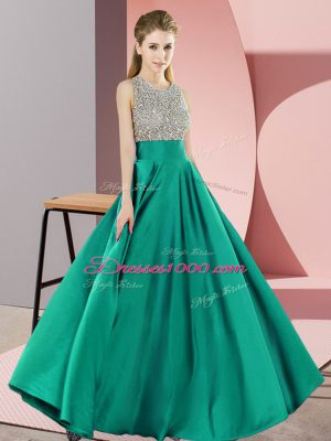 Turquoise Empire Elastic Woven Satin Scoop Sleeveless Beading Floor Length Backless Prom Evening Gown
