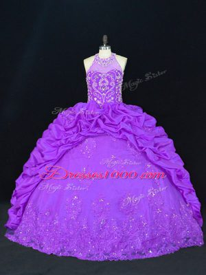 Best Selling High-neck Sleeveless Lace Up Quinceanera Gowns Purple