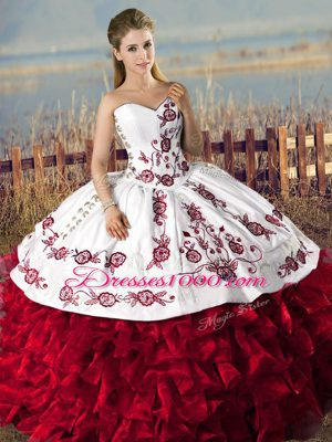 Free and Easy Sleeveless Lace Up Floor Length Embroidery and Ruffles Quinceanera Gowns