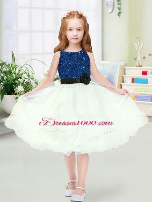 Sleeveless Sequins and Hand Made Flower Zipper Toddler Flower Girl Dress