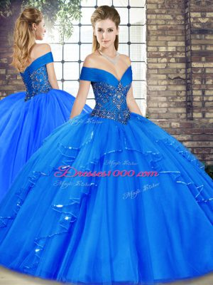 Cute Royal Blue Sleeveless Tulle Lace Up Quinceanera Gowns for Military Ball and Sweet 16 and Quinceanera