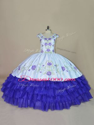 Beautiful Blue and Purple Satin and Organza Lace Up V-neck Sleeveless Floor Length Sweet 16 Quinceanera Dress Embroidery and Ruffled Layers