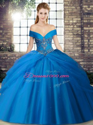 Nice Blue Off The Shoulder Neckline Beading and Pick Ups Ball Gown Prom Dress Sleeveless Lace Up