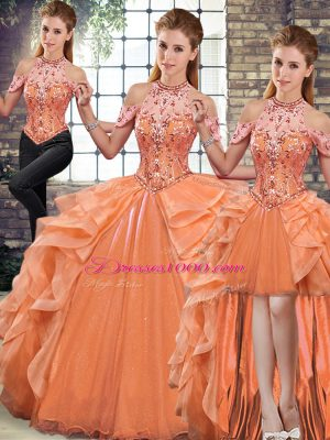 Fantastic Orange Organza Lace Up Halter Top Sleeveless Floor Length Quinceanera Gown Beading and Ruffles
