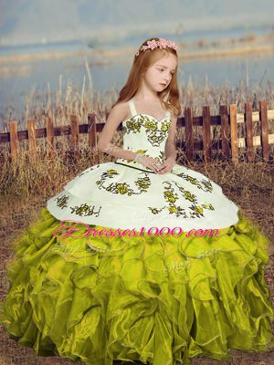 Floor Length Lace Up Pageant Dress for Womens Olive Green for Party and Wedding Party with Embroidery and Ruffles