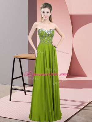 Beading Celebrity Style Dress Olive Green Zipper Sleeveless Floor Length