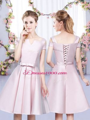 Dramatic Baby Pink Sleeveless Mini Length Bowknot Lace Up Bridesmaid Dress