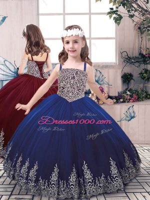 Blue Lace Up Kids Formal Wear Beading and Embroidery Sleeveless Floor Length