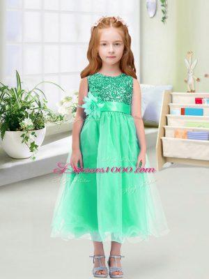 Hot Sale Turquoise Scoop Neckline Sequins and Hand Made Flower Flower Girl Dress Sleeveless Zipper