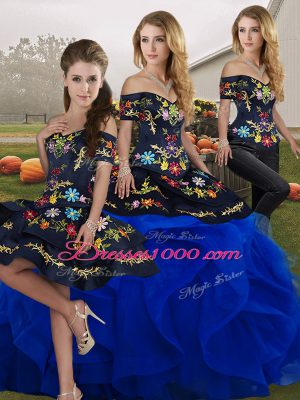 Top Selling Sleeveless Lace Up Floor Length Embroidery and Ruffles Vestidos de Quinceanera