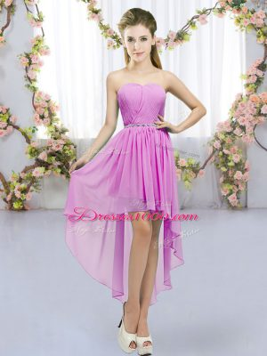 Comfortable Beading Quinceanera Court of Honor Dress Lilac Lace Up Sleeveless High Low