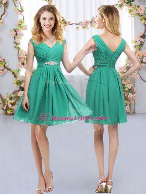 Inexpensive Turquoise Empire Chiffon V-neck Sleeveless Belt Mini Length Zipper Dama Dress for Quinceanera