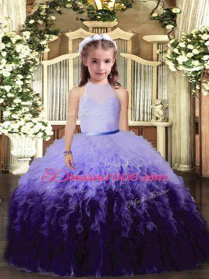 Floor Length Multi-color Juniors Party Dress High-neck Sleeveless Backless