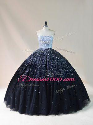 Super Black Sleeveless Beading Floor Length Sweet 16 Dresses