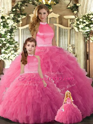Smart Hot Pink Tulle Backless Halter Top Sleeveless Floor Length Sweet 16 Dress Beading and Ruffles