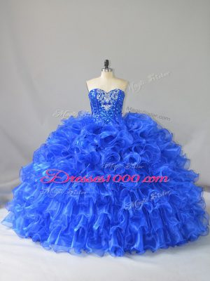 Royal Blue Ball Gowns Ruffles and Sequins Vestidos de Quinceanera Lace Up Organza Sleeveless Floor Length