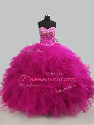 Fuchsia Lace Up Sweetheart Beading and Ruffles Quinceanera Dress Tulle Sleeveless