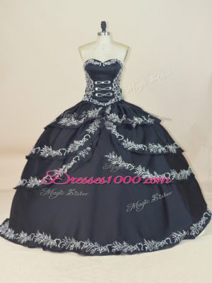 Black Ball Gowns Sweetheart Sleeveless Satin Floor Length Lace Up Embroidery Quinceanera Gowns