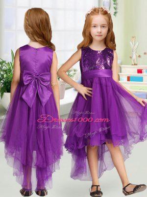 Romantic High Low Purple Flower Girl Dresses for Less Scoop Sleeveless Zipper