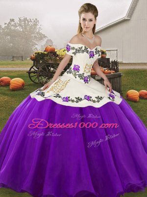 Beauteous White And Purple Sweet 16 Dress Military Ball and Sweet 16 and Quinceanera with Embroidery Off The Shoulder Sleeveless Lace Up