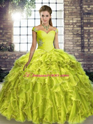 Yellow Green Sleeveless Beading and Ruffles Lace Up Vestidos de Quinceanera