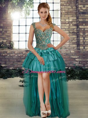 Sleeveless High Low Lace Up Pageant Dress for Womens in Teal with Beading