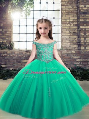 Appliques Party Dress Turquoise Lace Up Sleeveless Floor Length
