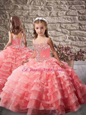 Beautiful Watermelon Red Beading and Ruffled Layers Lace Up Child Pageant Dress