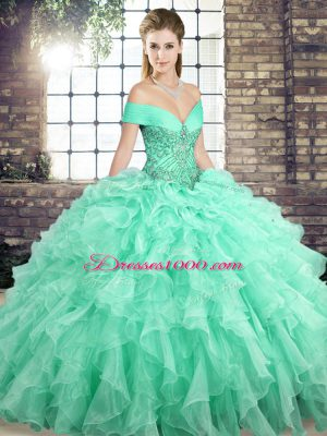 Apple Green Sleeveless Beading and Ruffles Lace Up Quinceanera Dress