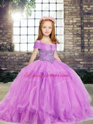 Straps Sleeveless Side Zipper Little Girls Pageant Gowns Lilac Tulle